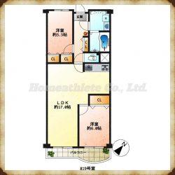 2LDKの広々としたLDKは家具の配置もしやすい人気な間取りです。(間取)